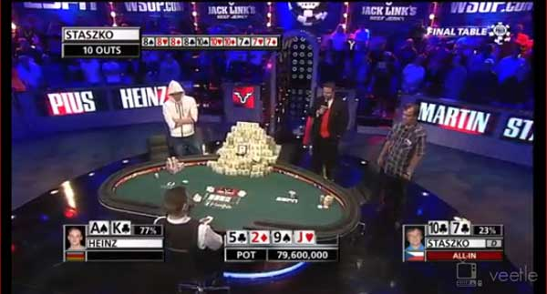 2011 WSOP Main Event final de la mano World Series of Poker