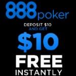 888 Poker Depósito $10 ganha $10 Grátis