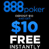 888 Poker Depósito $10 recibe $10 Gratis