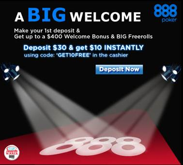 888Poker free $10 bonus for 888 Poker