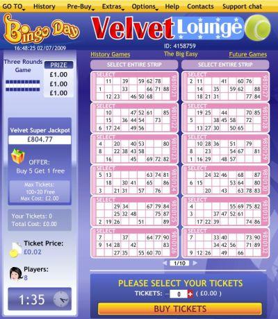 BingoDay.com Velvet Lounge Bingo ROOM