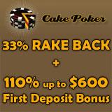 cake poker rake back