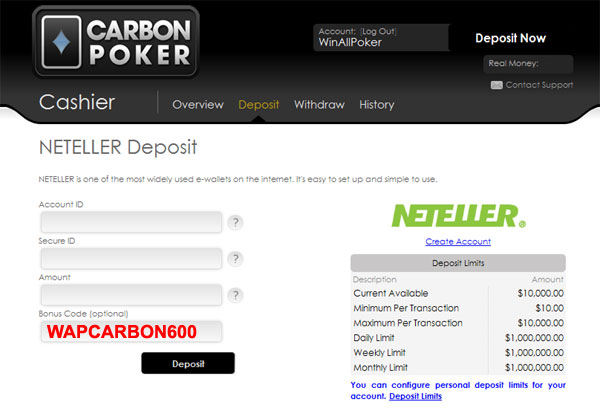 Carbon poker satellite coupons