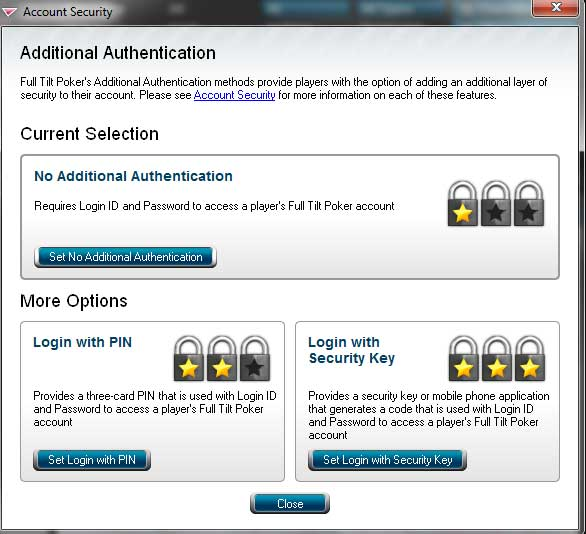Full tilt poker mobile security key