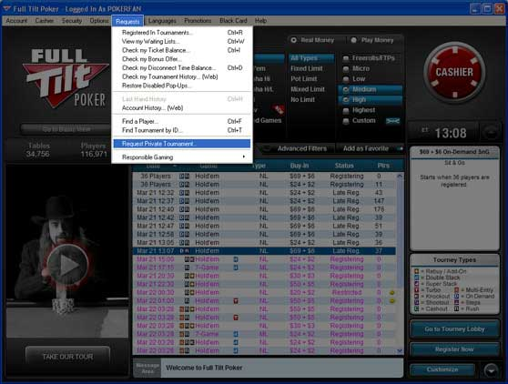 Full Tilt Poker privat turnering