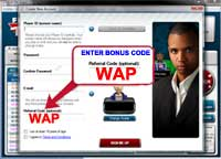 Creating a free FullTilt Poker account - Step 2: Enter the bonus code WAP in the Fulltilt Poker Referral code (optional): field