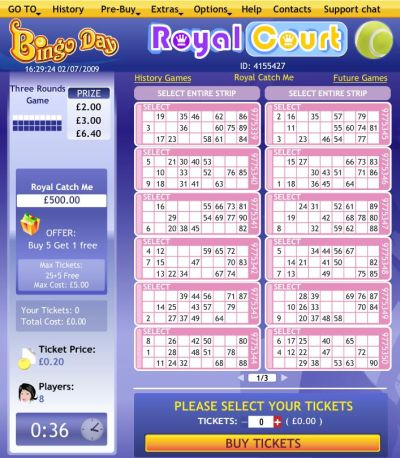 Online Bingo Room Royal Court - bingo Highroller
