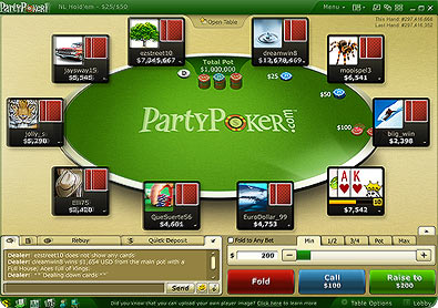 Partypoker's table new look