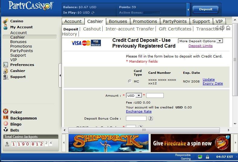 888 casino cashier login