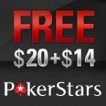 PokerStar Gratis $20 + $14 Tilbud