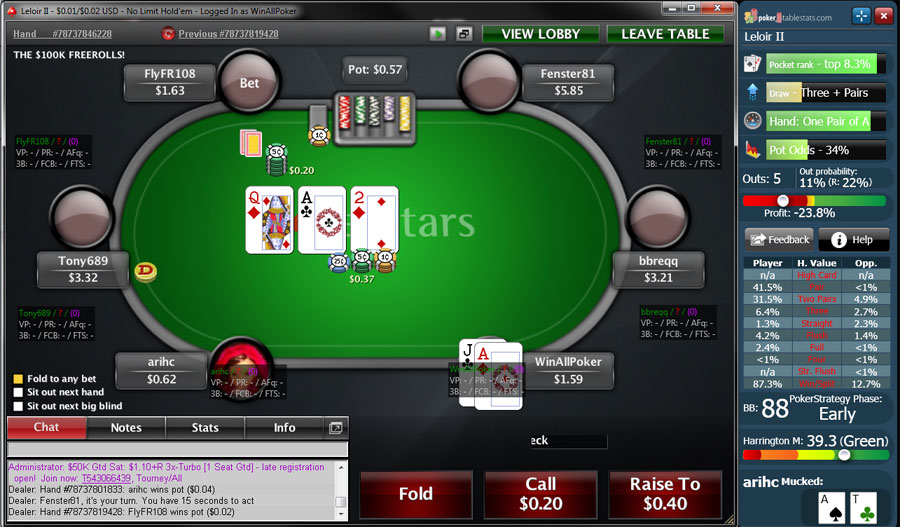 best poker odds calculator pokerstars