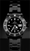 rolex submariner watch in black