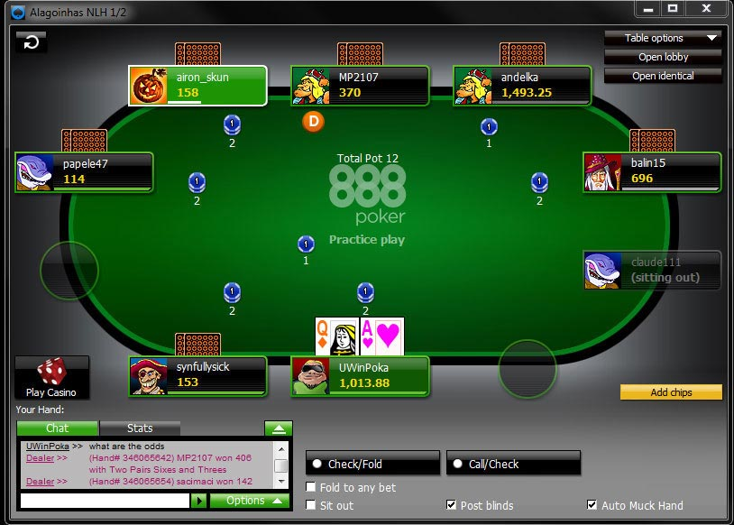 888 poker max tables