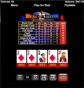 winner casino mobile video poker game